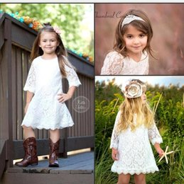 Wholesale Long White Stockings Girl - Cute Flower Girl Dresses 2016 Vintage Lace Long Sleeve Crew Neck A Link Knee Length Cheap White   Ivory Toddler Gowns In Stock