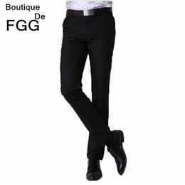 Wholesale Slim Fit Work Suit - Wholesale- Summer Big Size Easy Care Men Business Formal Black Suit Pants Slim Fit Wedding Party Bestman Groom Pants Work Wear Office Pants