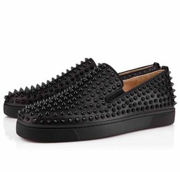 Wholesale men spike loafers - Luxury Designer Red Bottom Loafers For Men,Genuine Leather Slip On Platform Casual Sneakers Spikes Wedding Party Flats Men Shoes Size:39-46