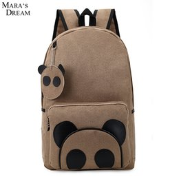 Wholesale Dreams Book - Wholesale- Mara's Dream New 2017 Women School Backpack High Quality Canvas Pactwork Big Capacity Cute Panda School Book Bag Teenager Girl