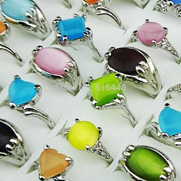 Wholesale Cat Eye Rings Wholesale - Hot Selling 20pcs 100% Natural Cat Eye Stones Fashion Silver P Women Rings Freeshipping Wholesale Jewelry Lots A-077