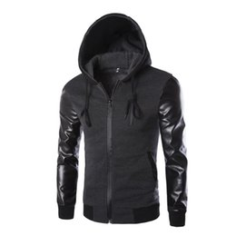 Wholesale Leather Jacket Hoodie - Wholesale-2016 Autumn Men`s Hooded Jacket With Leather Sleeves Motorcycle Faux Leather Slim Fit Hoodie Jacket With Hood