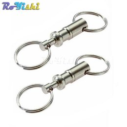 Wholesale quick release hooks - 10pcs lot Removable Keyring Quick Release Keychain Dual Detachable Key Ring Snap Lock Holder Steel Chrome Plated Pull-Apart Key Rings