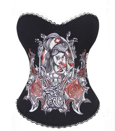 Wholesale Drop Ship Tattoo - Wholesale-Sexy Lingerie Sugar Skull Goth Punk Rock Hook Tattoo Rhinestone Boned Corset Bustier Overbust Drop Shipping