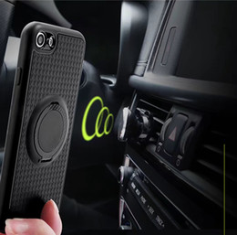 Wholesale Plastic Magnetic Clips - Ring Car Holder Phone Case For Iphone X 8 7 Plus 6 6S SE 5 5S Galaxy S8,Plus Magnetic Hybrid Soft TPU Shockproof Finger Ring Kickstand Skin