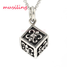 Wholesale Mens Locket Chain - musiling Jewelry Cube Box Locket Stainless Steel Pendants Necklace Chain Pendulum Charms Reiki Amulet Fashion Mens Jewelry