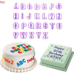 Wholesale Hot Cookies - Hot 40pcs Purple Alphabet Number Letter Fondant Chocolate Cake Decorating Set Icing Cookie Cutter Mold Baking Accessories Moulds YSB000025