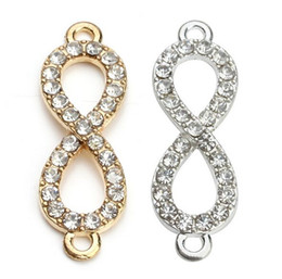 Wholesale Connector Infinity Pendants - 100pcs lot Gold Plated Crystal Rhinestone Figure 8 Infinity Connector Charms Pendant for DIY Bracelet Jewelry Making 10*33mm