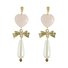Wholesale Pearl Drop Mother - Latest Design Fashion Jewelry Gold Plated Pink Heart Design Stud with Bowknot and Large Water Drop Shaped Earrings For Women