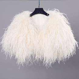 Wholesale Velvet Fur Bridal Jacket - 2017 New Fashion Real Hairy Ostrich Feather Furry Fur Coat Jacket Bridal Bolero For Wedding Formal Party