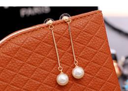 2019 großhandel künstliche schmuck 18K Rose Gold überzogene künstliche Perle klassische lange Styling Quaste Dame Ohrringe Manschette Großhandel Schmuck für Frauen günstig großhandel künstliche schmuck