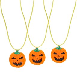 Wholesale Flashing Led Party Lights Necklace - LED Light Necklace Halloween Pumpkin Christmas Santa Claus Pendants For Child Flash Pendant Necklaces Glow In The Dark 2 5ax B
