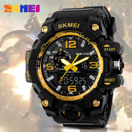 Wholesale Alarm Clocks Battery - SKMEI Big Dial Men Digital Watch Military Clock Sports Watches Water Resistant Calendar LED Dual Display Wristwatches 1155