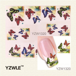 Wholesale Butterfly French - Wholesale- YZWLE 1 Sheet Water Transfer Nail Art Sticker Decal Multi Color Butterfly Design Half Wraps French Manicure Tools
