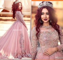 Wholesale Long Sleeve Evening Dresses Luxury - 2017 Luxury Arabic Long Sleeve Ball Gown Prom Dresses New Pink Beaded Lace Tulle Party Dress Evening Wear Quinceanera Gowns