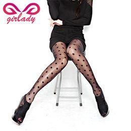 Wholesale Polka Dots Tights For Girls - Wholesale- GIRLADY Sexy Big Dot Black Woman Tights Sheer Lace Transparent Slim Fit Dots Pantyhose For Girls Ladies Retro Polka Dots Medias