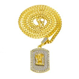 pendant pieces for men chains Coupons - Men Jesus Dog Tag Pendant Necklace Hip Hop Jewelry Full Rhinestone Design Filling Pieces Mens 18k Gold Plated Fashion Chain For Gifts