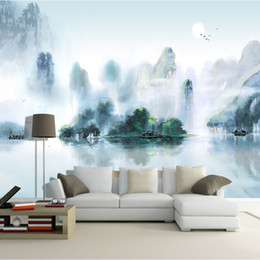 Wholesale Large Paintings For Living Room - Custom Wallpaper large wall murals No-woven Chinese ink painting style landscape painting TV Walls bedroom living room Study home decor