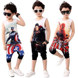 Ensembles de vêtements d'été spiderman à vendre-2017 Summer Kids Clothes 2017 New Spiderman Toddler Boys 2pcs Set d'habillement T-shirt sans manches pour enfants Costumes en coton en mousseline de soie