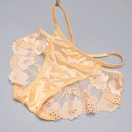 Wholesale Transparent Waist Panties - New sexy lace silk panties low waist briefs half transparent underpants hollow silk women's underwear ladies sexy panties
