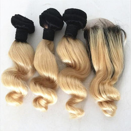 Wholesale Curly Two Tone Hair Extensions - Ombre Hair Extensions #1B 613 Blonde Ombre Dark Root Virgin Human Hair 3Pcs With Lace Closure Two Tone Loose Wave Curly Hair Weaving