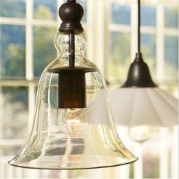 Wholesale Crystal Lighting Fixtures Wholesale - Modern Crystal Bell Glass Pendant Lights Industrial Style Pendant Lamp Edison bulbs Lighting Fixture Retro Chandelier Light Dining room lamp