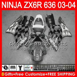 Wholesale Kawasaki Ninja White Grey - 8Gifts 23Colors kit For KAWASAKI NINJA ZX 636 ZX 6R 03-04 600CC Grey white 29NO54 ZX-6R 2003 2004 ZX-636 ZX636 ZX6R 03 04 Fairing Bodywork