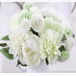 Wholesale Cheap Silk Peonies - Cheap Sale Elegant Artificial Silk Flower Dahlia Peony Daisy Mix Bridal Bouquet For Home Craft Ornament Wedding Decoration