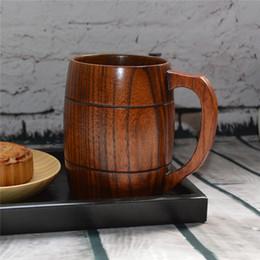 Wholesale Beer Promotion - Big Promotion! Eco-friendly 350ml Classical Wooden Beer Tea Coffee Mug Water Bottle Heatproof Home Office Party Drinkware