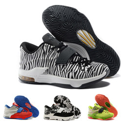 Wholesale Kd Boots - Wholesale 30 colours 2016 Newest Kevin Durant KD 7 basketball shoes KD7 Sports Shoes running shoes Athletic low boots best quality mens 7-12
