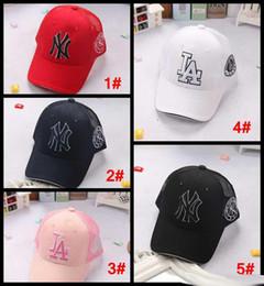 Wholesale Ny Children - kids Summer sunhats Baseball mesh Cap NY LA Embroidery Letter Sun Hats Adjustable Snapback Hip Hop Dance Hat children girls boys Visor caps