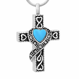 Wholesale Gothic Red Necklace - IJD9699 Gothic Cross Cremation Pendant Necklace Crystal Paved Ashes Keepsake Urn Memory Jewelry