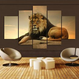 Wholesale Wall Pictures Set - 5 Pcs set Animal Lion Wall Art Picture Personalized gifts Home Drawing room Canvas Paintings without frame