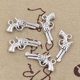 Wholesale 22 Gun Silver - Wholesale-30pcs Charms pistol gun 22*12mm handmade Craft pendant making fit,Vintage Tibetan Silver,DIY for bracelet necklace