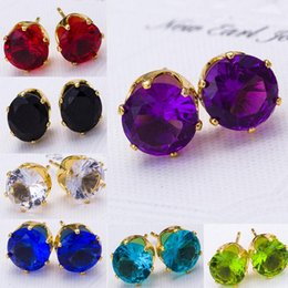 Wholesale gold studded earrings - Stud Earrings Fashion Round Favorite Design 18 K Gold Plated Studded Candy Crystals CZ Diamond Stud Earring For Women Zircon Ear Sude Rings