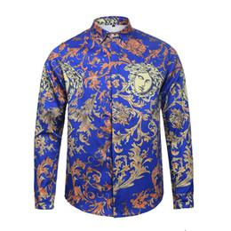 Wholesale Open Casual Shirts - Free Shipping 2017 Autumn winter Harajuku Camisa social masculina Fashion Retro floral shirt Men long sleeve blouse camisas masculina