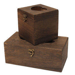 Wholesale Vintage Chinese Box - Wholesale- Bar Restaurant Chinese Tissue Box High-grade Vintage Burned Wooden Drawer Box Beautiful Napkin Holder Case Rectangle Square