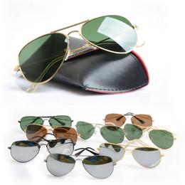 caixa superior de vidro Desconto Top Quality 62 MM óculos de Sol Lente De Vidro Da Marca Designer óculos de sol óculos de Espelho óculos Unisex homens Mulher óculos de sol Com caixa de moda