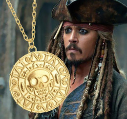 Wholesale Wholesale Aztec - Vintage Bronze Gold Pirate Charms Aztec Coin Necklace Men's Movie Pendant Necklaces for Lady Xmas Gift Fashion Jewelry