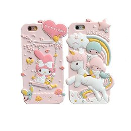 Wholesale Twin Stars - Luxury 3D Cute My Melody Little Twin Stars Silicon Soft Case Capa Para Cover For iPhone 6 6S 7 Plus With strap free shipping
