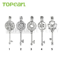 Wholesale Key Locket Pendant - WG37 Teboer Jewelry 20pcs Wholesale Mixed Key Lockets Cage Pendants Different Designs Love Wish Pearl Key Cages
