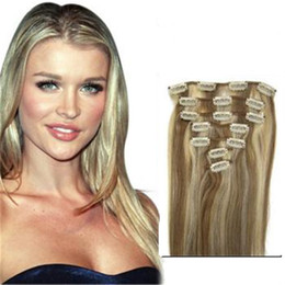 Wholesale Clip 12 613 - #12 613 mixed color Brazilian Clip In Human Hair Extensions 7 Piece Thick Clip In Human Hair Extension Full Head