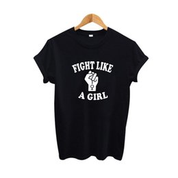girls graphic tees Coupons - Wholesale- Fight Like A Girl T Shirt Tumblr Women Hipster Slogan Tee Shirt Feminist tshirt Graphic Sign 2017 Summer Tops Women Clothes