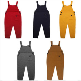 Wholesale Trouser Suspenders Kids - Kids Ins Overalls Knit Suspenders Wool Pants Fashion Ins Suspender Trousers Casual Long Pants Ins Straps Jumpsuit Playsuit Rompers B2363