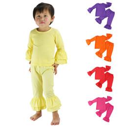 Wholesale Children S Brands Winter - 2017 new children girls ruffle top+pants 2pcs set Baby Candy colors outfits kids cotton ruffle suit 15 colors C1772