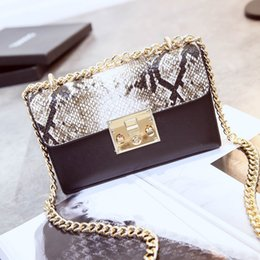 Wholesale Korean Cross Body Bags - In the spring of 2016 new handbag Korean fashion small package color stitching lock snake chain Satchel Bag women messenger bags
