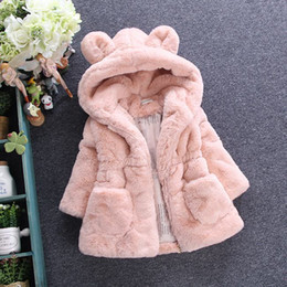 Wholesale Girls Black Fur Coat - Children faux fur coat winter new baby girls cute ear hooded Faux fur coat kids fleece thicken warm outwear children cartoon coat A00045