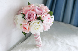 Wholesale Silk Carnation Wedding Bouquets - Light Pink Artificial Vintage Wedding Bouquets Brooch Bouquets Wedding Bridal Flower Bouquets With Pearls Ramos De Novia 2016 New Arrival