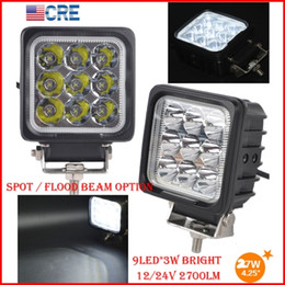 "Wholesale Led Offroad Spot 27w - EMS 2PCS 4"" 27W CREE Chips LED Driving Work Light Square 9LED*3W Offroad SUV ATV 4WD 4x4 Spot Pencil   Flood Spread Beam 2700LM Super Bright"