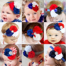 Wholesale Chiffon Flower Lace Hair Accessory - 5pcs Popular Chiffon flower Patriotic Independence Day headbands girls Fourth of July headwear hair bands accessories free shipping
